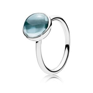 Pandora Poetic Droplet Ring Aqua Blue Crystal